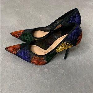 Zara black mesh heels